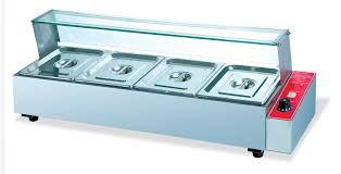 commerical stainless steel electric 4 pans bain marie tabletop