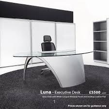 White Glass Desks by Luna Glass Desks Office Desks Executive Desks