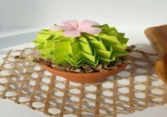Home Decoration Gifts Good Office Warming Gifts Origami Paper Cactus In Lime Green With