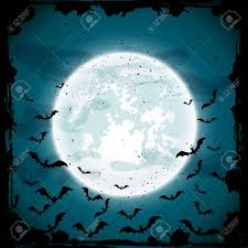 bats on moon background scary halloween night scene illustration