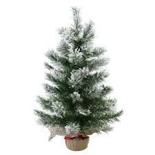 flocked tree 24 flocked pine artificial christmas tree in burlap base unlit