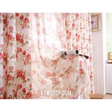 beige and pink romantic floral rustic country style curtains