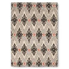 Grey And Orange Rug And Orange Ornate Diamonds Rug