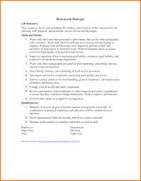 Maintenance Description For Resume Resume Restaurant Manager Duties For Resume