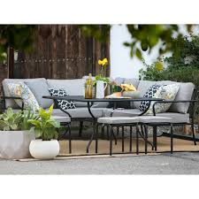 Patio Dining Set With Bench Belham Living Augusta Metal And All Weather Wicker Patio Dining