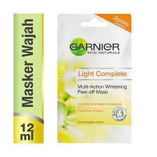 Masker Garnier Lemon garnier light complete multi whitening peel mask 2x