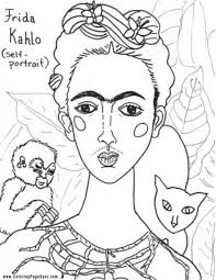 grant wood free coloring page of frida kahlo painting self