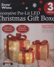 set of 3 decorative pre lit led christmas gift boxes festive xmas