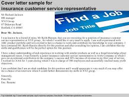 insurance customer service representative cover letter