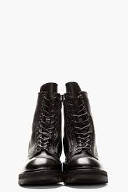 julius black leather zipped combat boots in black for men lyst