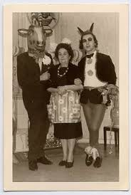 1960 Halloween Costumes Holding Ms Beasly Front Birthday Cake