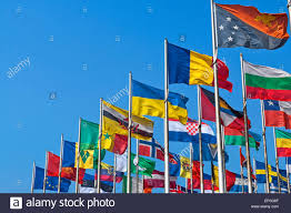 Flags For Sale South Africa Different Countries Flags United Together Against Blue Sky Stock
