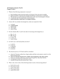 ap chemistry practice test 6 chapter 8 and 9