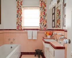 Pink And Grey Shower Curtain by Unique 90 Retro Pink Tile Bathroom Ideas Decorating Inspiration