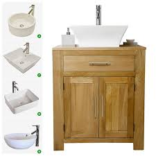 Cavalier Bathroom Furniture Solid Oak Vanity Unit With Basin Sink 700mm Bathroom Prestige
