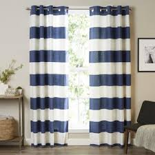 Navy And White Striped Curtains Striped Curtains Drapes You Ll Wayfair
