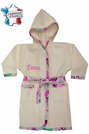 robe de chambre enfant fille peignoir enfant fille écru prénom brodé de 2 ans à 12 ans ref 216