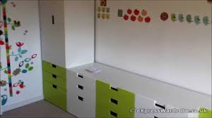 Bedroom Storage Furniture by Ikea Stuva Childrens Wardrobe Green And White Youtube