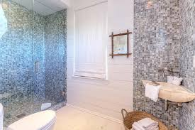 bathroom with gray glass mosaic tiles cottage bathroom