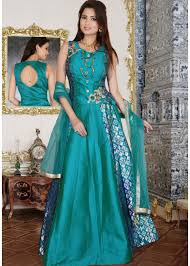 peacock blue and navy blue lehenga gown