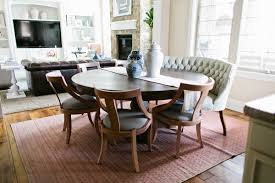 Round Black Dining Table Squeeze Your Guest With Dining Room Settee Ideas Half Circle Black