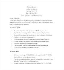 resume programmer php developer resume template u2013 19 free samples examples format