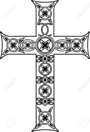 vector black and white cross with ornaments royalty free cliparts