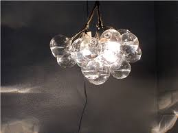 Cascading Glass Bubble Chandelier Bubble Chandelier Satin Brass Iris Blue Leather Bubble