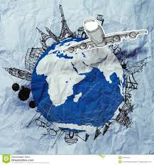 crumpled paper and traveling around the world stock photo image