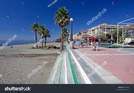 sandy sunny beach promenade estepona southern stock photo 785435