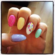 coloured glitter oval holiday lcn gel nail design nails