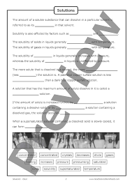 solutions and solubility u2013 cloze worksheet good science worksheets