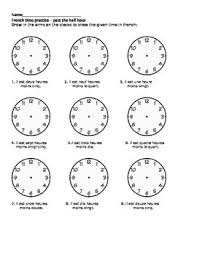 french telling time clock worksheets practice tpt