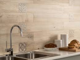 multi color travertine mixed kitchen backsplash tile with glass