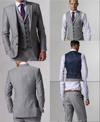 mens light gray 3 piece suit men suits 3 pieces one button light gray groom tuxedos best man
