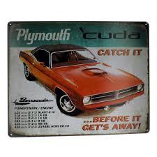 plymouth barracuda muscle car metal sign pub game room bar
