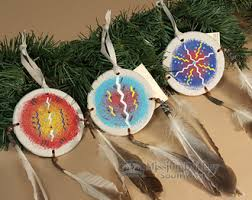 indian painted shield christmas ornament 3