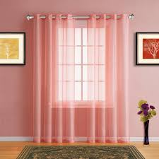 warm home designs faux linen pink coral sheer curtains in 7 sizes