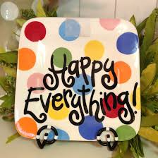 happy everything plates bright dot happy everything mini platter tin roof gift shop