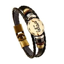 leather bracelet images Engraved zodiac leather bracelet the enchanted forest jpg