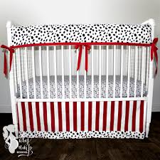 black red firefighter dalmatian baby boy crib bedding