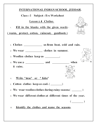 evs worksheet class i lesson 4 clothes documents