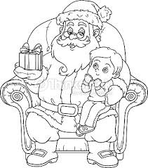 coloring book santa claus gift boy vector art
