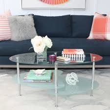 Country Coffee Tables by Wave Oval Glass 2 Tier Coffee Table Multiple Colors Walmart Com