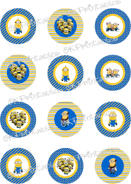 Minion Cake Decorations Minions Despicable Me Cupcake Toppers Printable Minion Circles