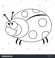 colorless funny cartoon ladybug vector illustration stock vector