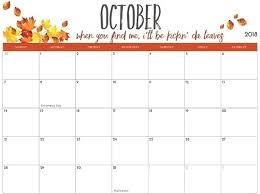 printable calendar pages october 2018 printable calendar pdf word template