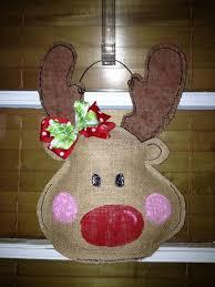 rudolph the nosed reindeer burlap door hanger
