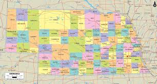 County Map Of Missouri Map Of State Of Nebraska With Outline Of Its Cities Towns And