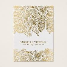 wedding planner business gold and white paisley 3 wedding planner business card